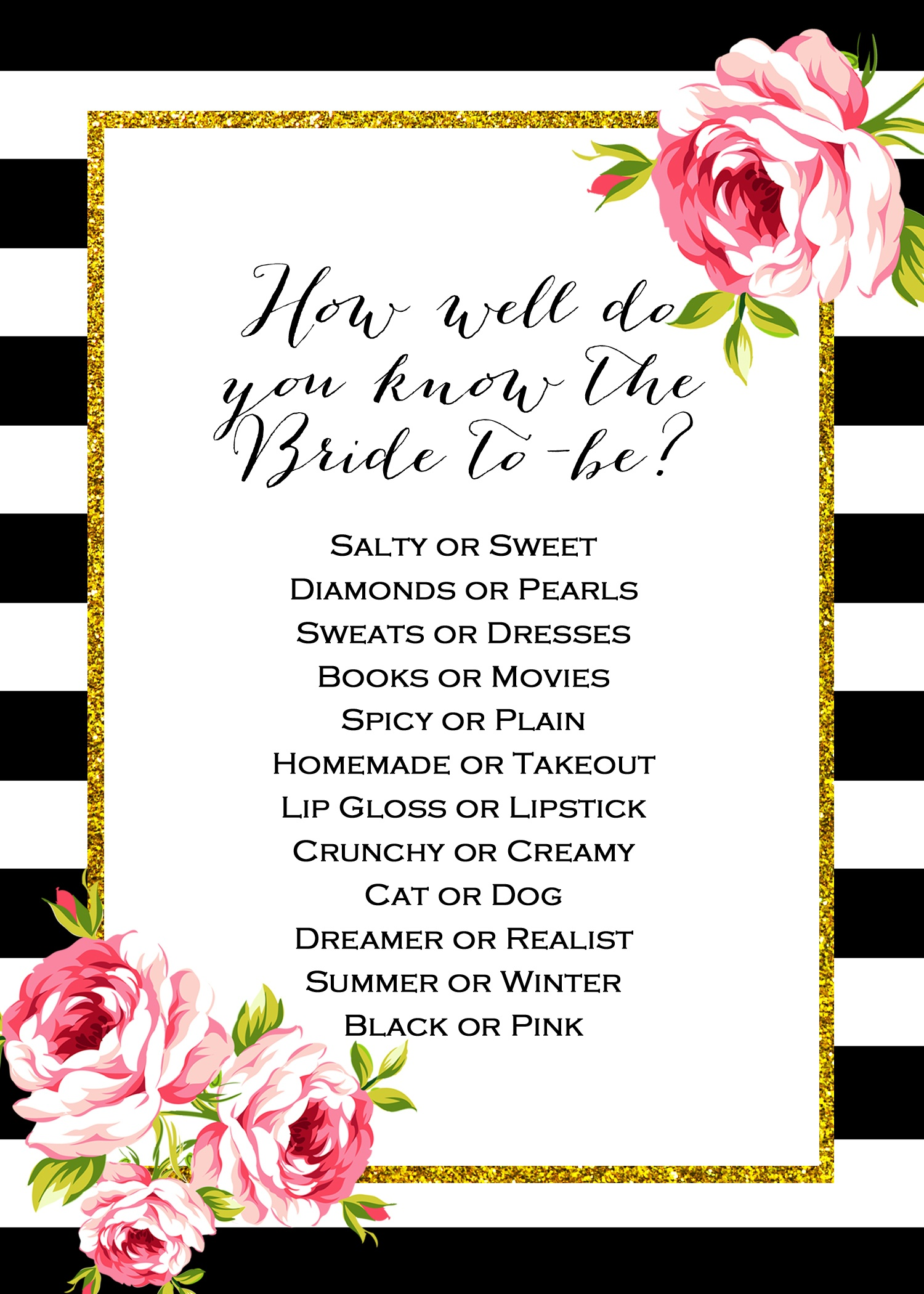 Free Don't Say Wedding Game | Wedding Planning | Free Bridal Shower - How Well Do You Know The Bride Game Free Printable