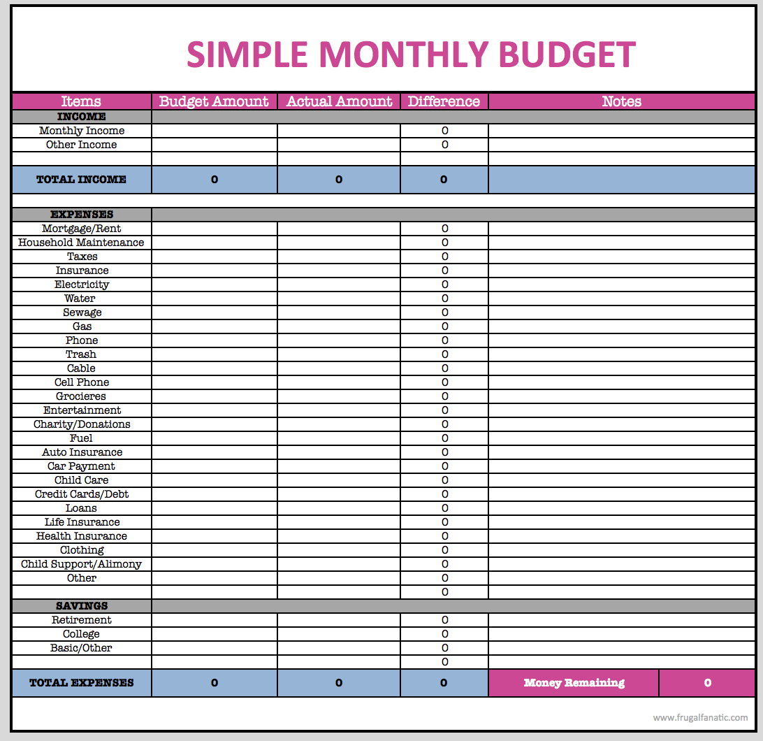 Free Download Household Budget Spreadsheet Monthly Finances Family - Free Printable Monthly Household Budget Sheet
