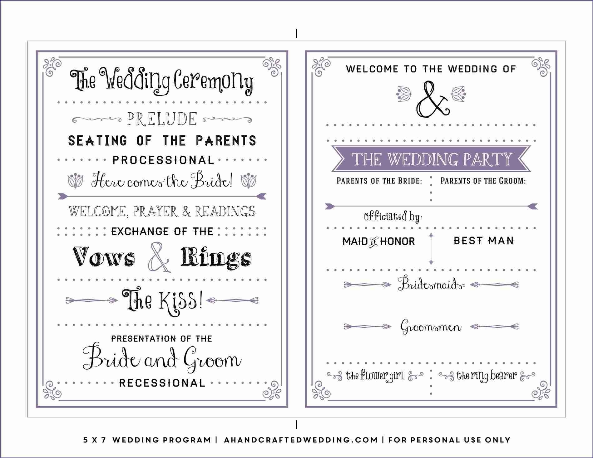 Free Downloadable Wedding Program Template That Can Be Printed - Free Printable Wedding Program Templates
