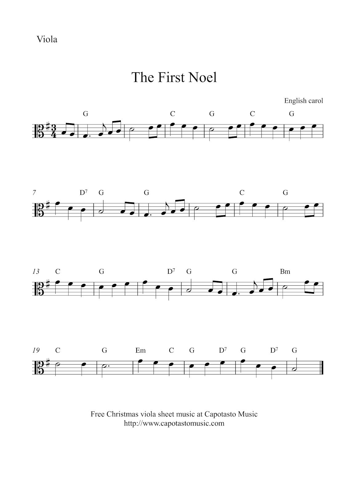 Free Easy Christmas Viola Sheet Music - The First Noel - Viola Sheet Music Free Printable