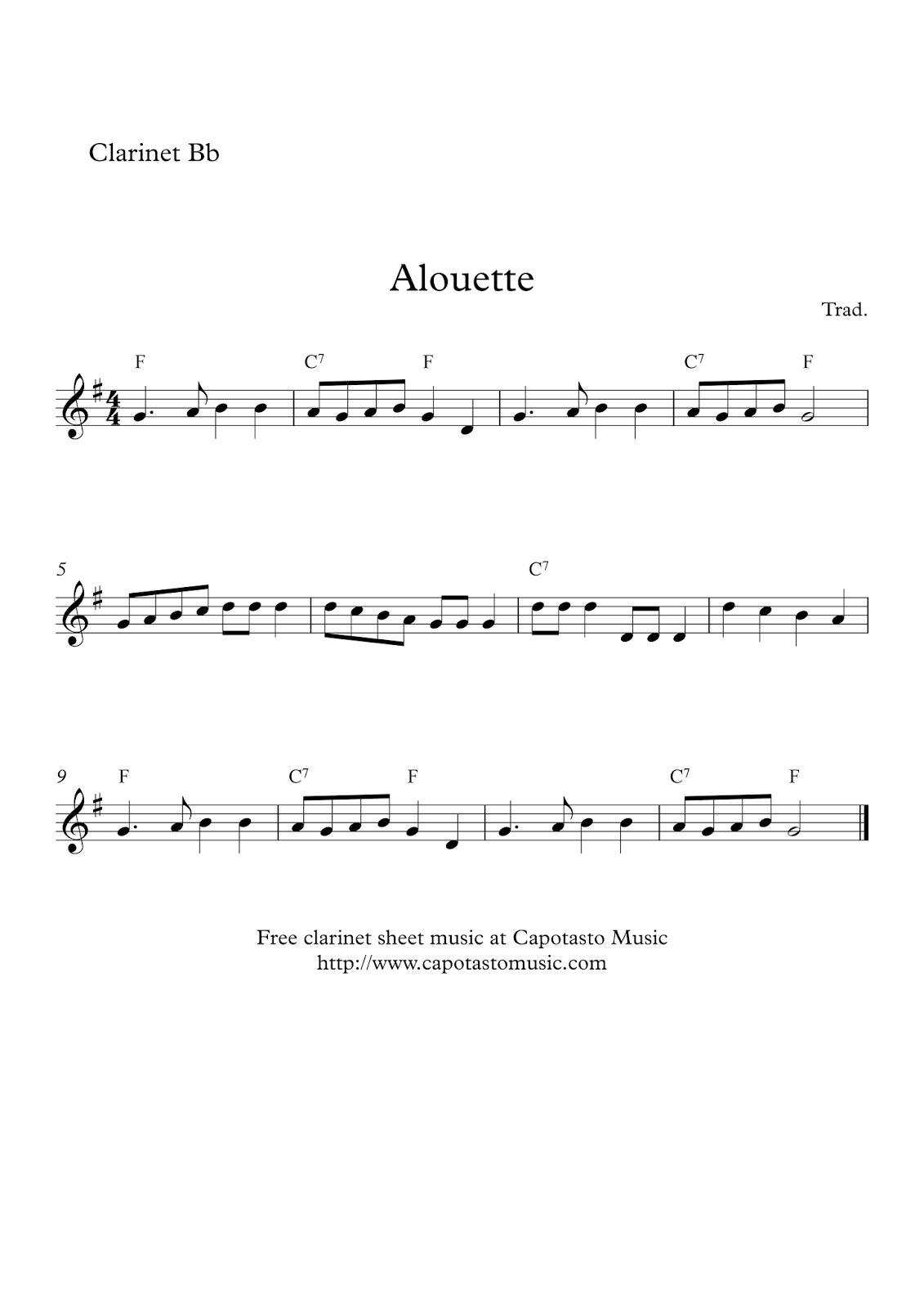 Free Easy Clarinet Sheet Music   Alouette - Free Printable Clarinet Music