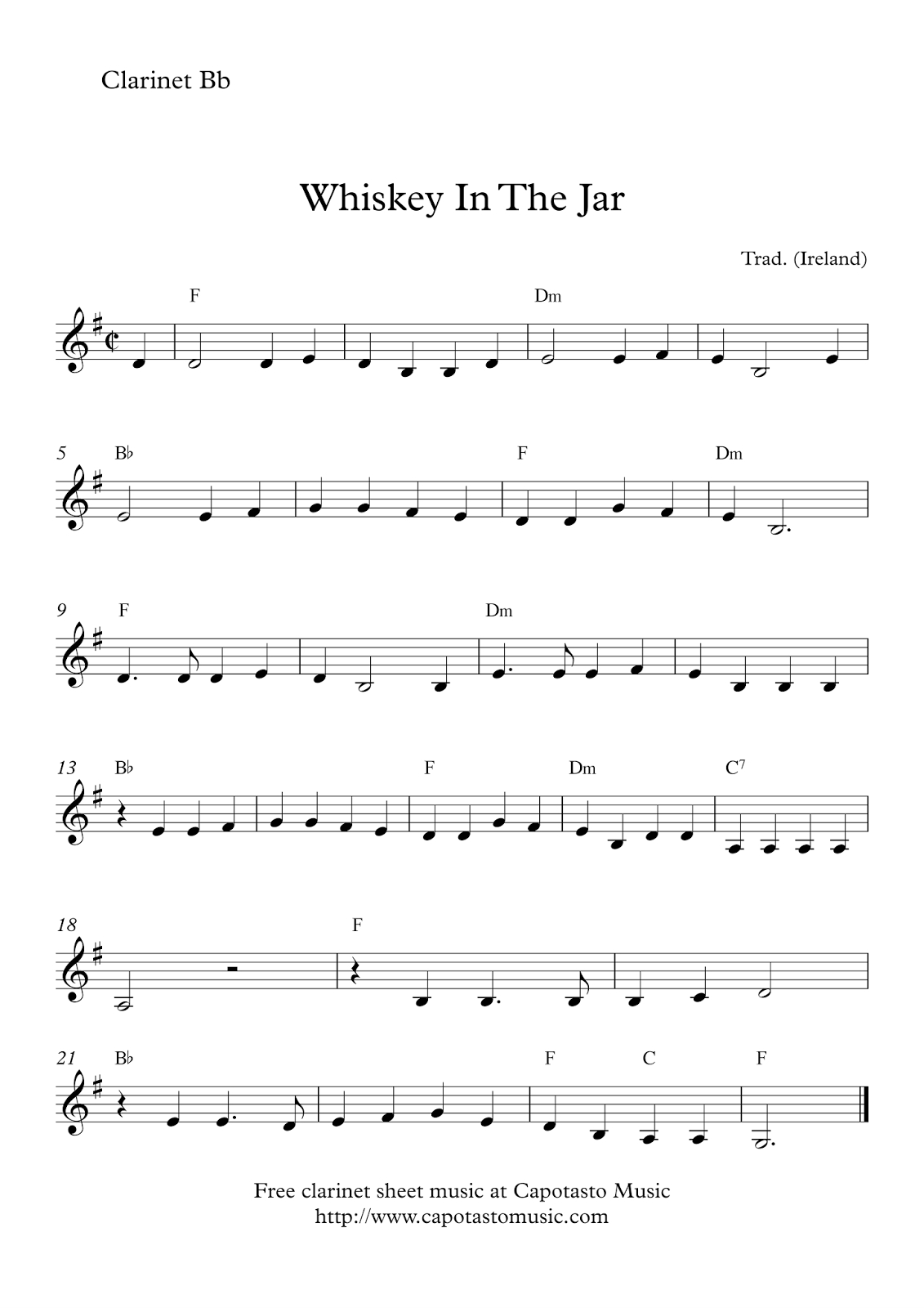 Free Easy Clarinet Sheet Music   Whiskey In The Jar - Free Printable Clarinet Music