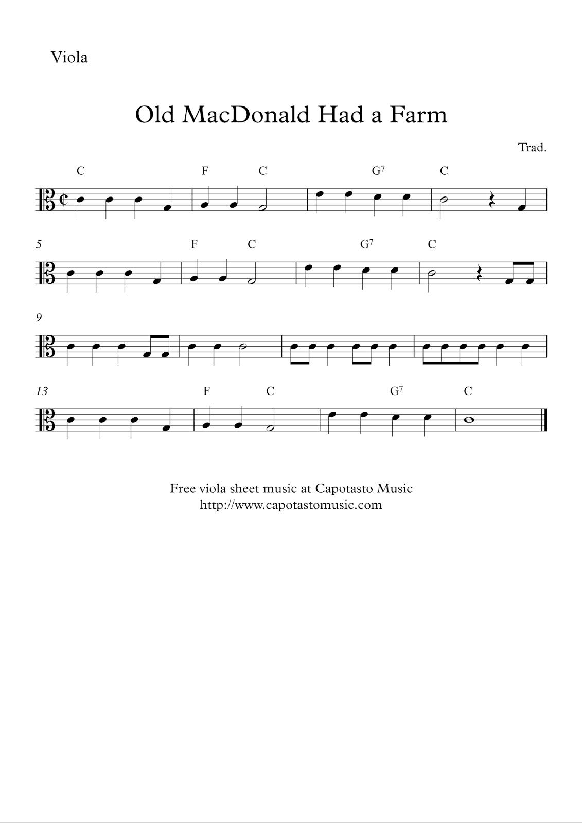 Free Easy Viola Sheet Music - Old Macdonald Had A Farm - Viola Sheet Music Free Printable