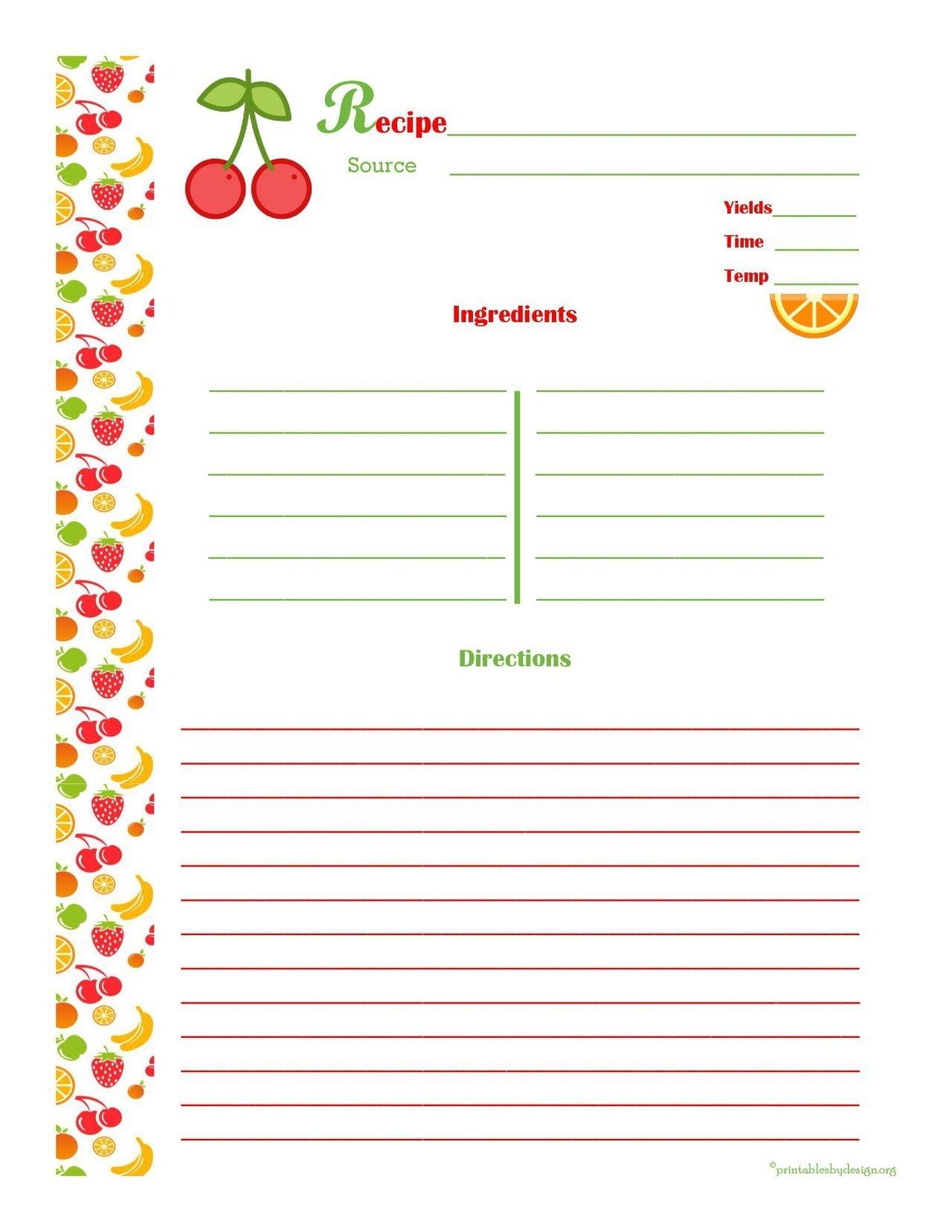Free Editable Recipe Card Templates For Microsoft Word - Free - Free Printable Recipe Templates