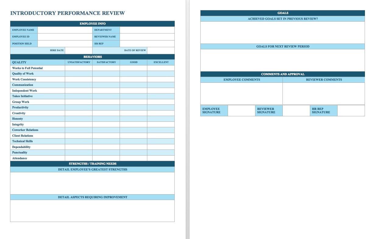 Free Employee Performance Review Templates - Smartsheet - Free Employee Evaluation Forms Printable