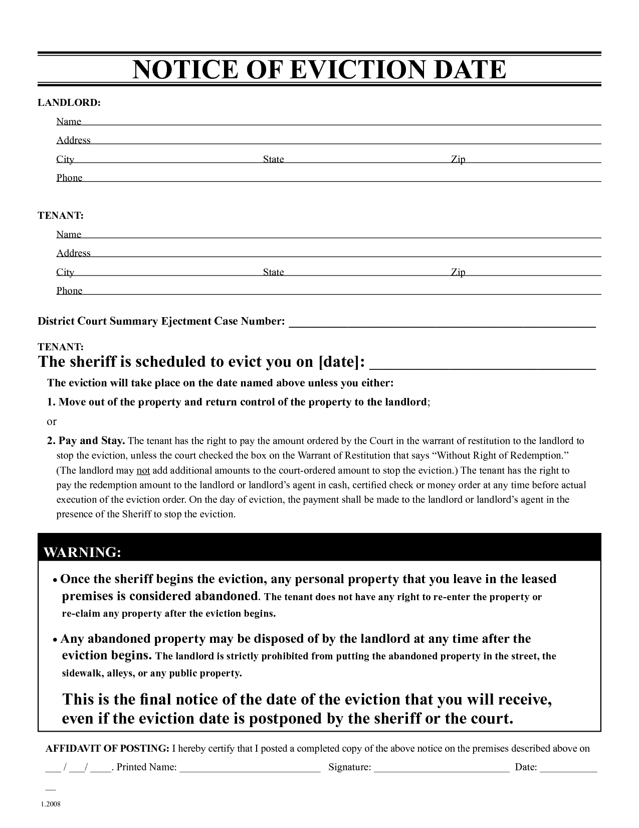 Free Eviction Notice Template   Printable Eviction Notice   Leaave - Free Printable Blank Eviction Notice