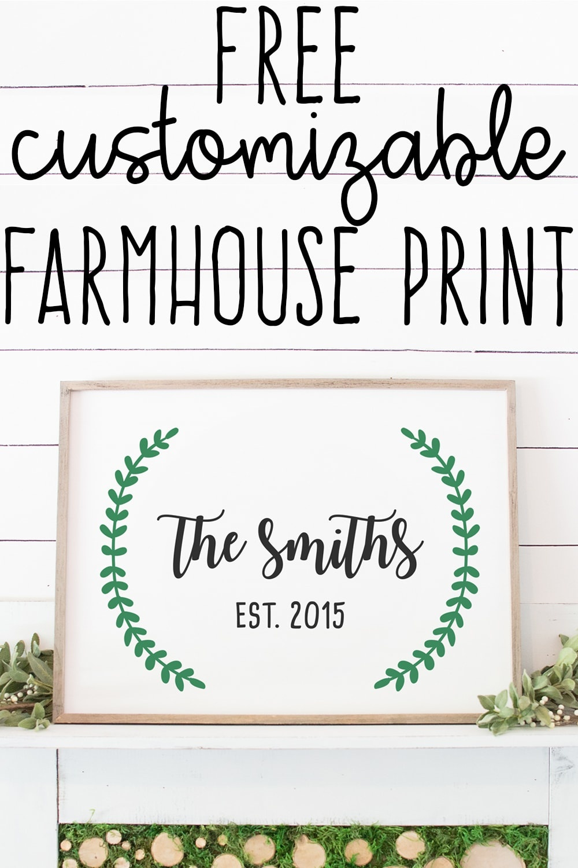 Free Farmhouse Inspired Established Print Customizable - Free Printable Custom Signs