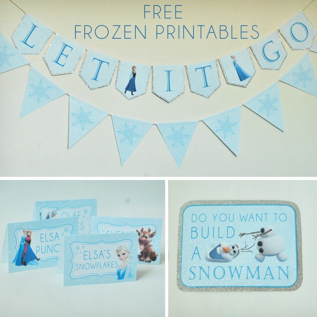 Free Frozen Party Printables Set Includes: Let It Go Banner, Happy - Frozen Happy Birthday Banner Free Printable