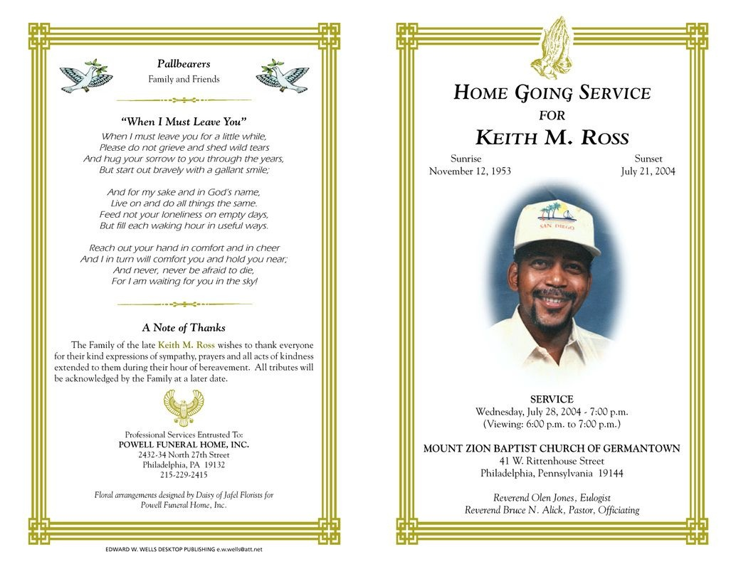 Free Funeral Program Templates | Funeral Program Sample Order Of - Free Printable Funeral Programs