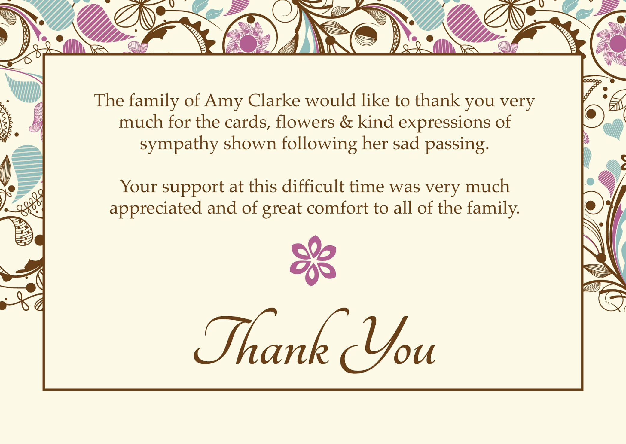 """Free Funeral Thank You Cards Templates Ideas 