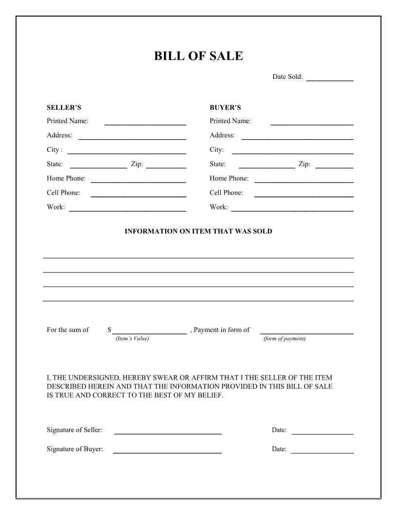 Free General Bill Of Sale Form - Download Pdf | Word | Cards In 2019 - Free Printable Bill Of Sale