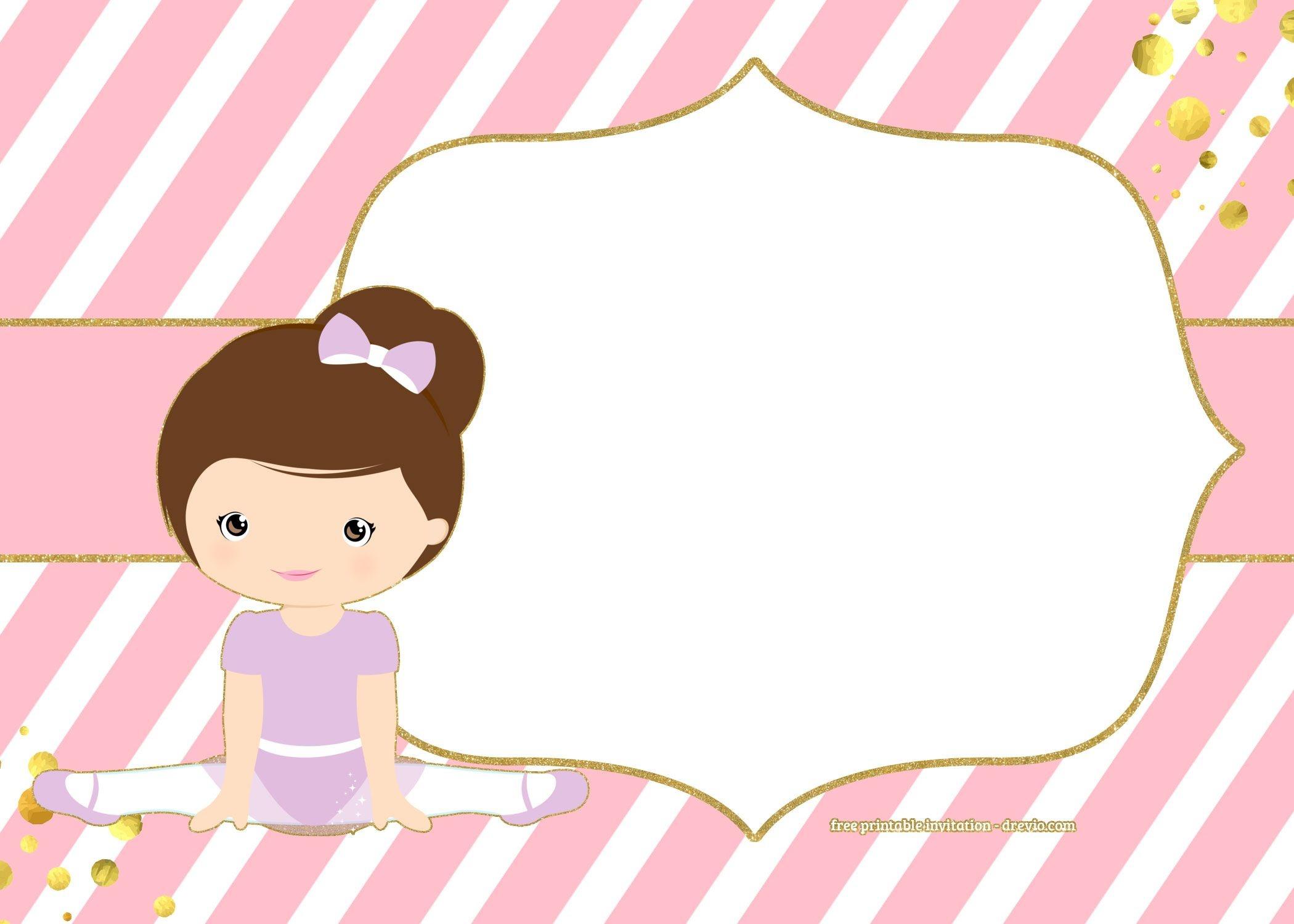 Free Golden Ballerina Birthday Invitation   Chip Bags Templates - Free Printable Ballerina Birthday Invitations