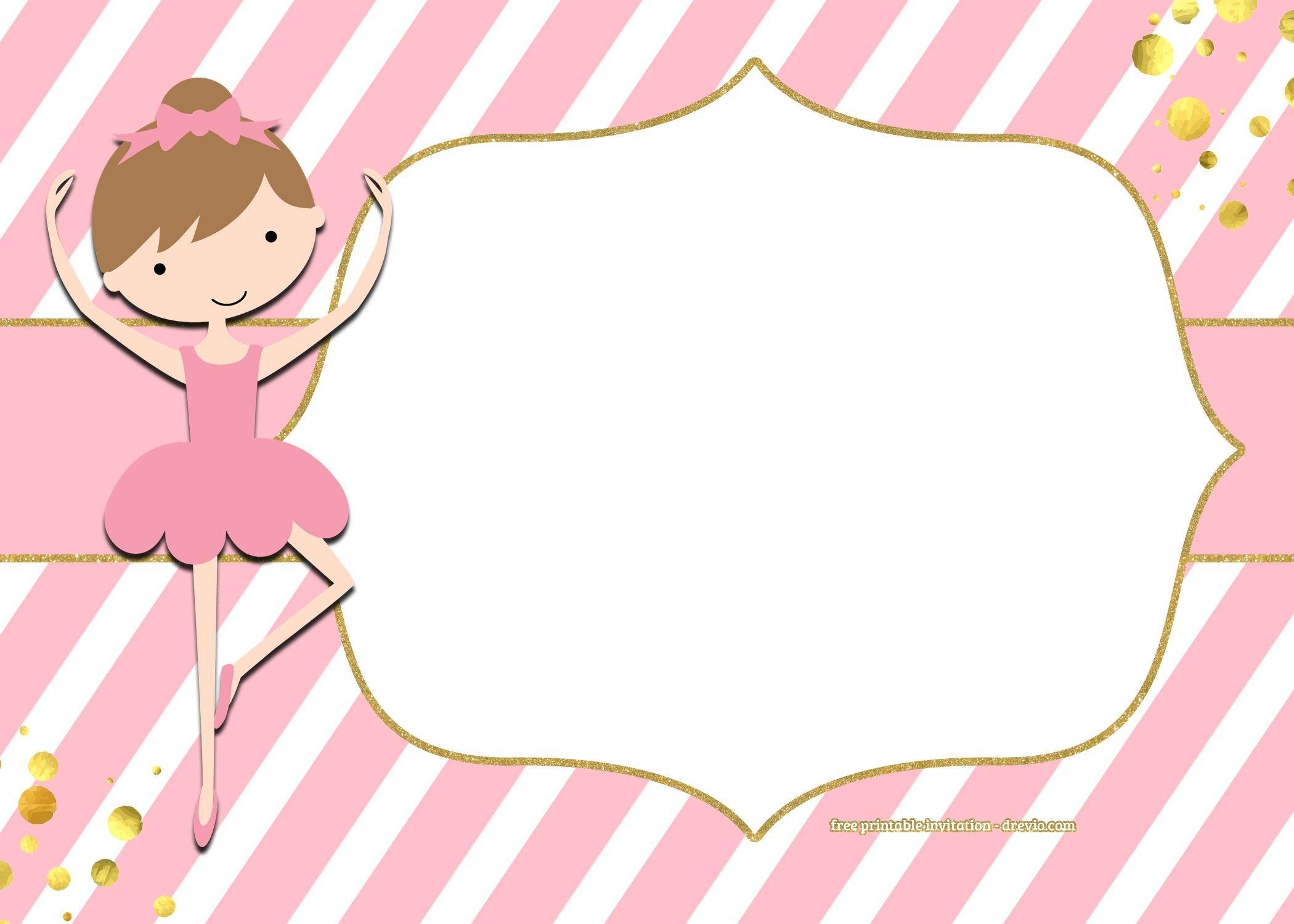 Free Golden Ballerina Birthday Invitation Templates | Free Printable - Free Printable Ballerina Birthday Invitations
