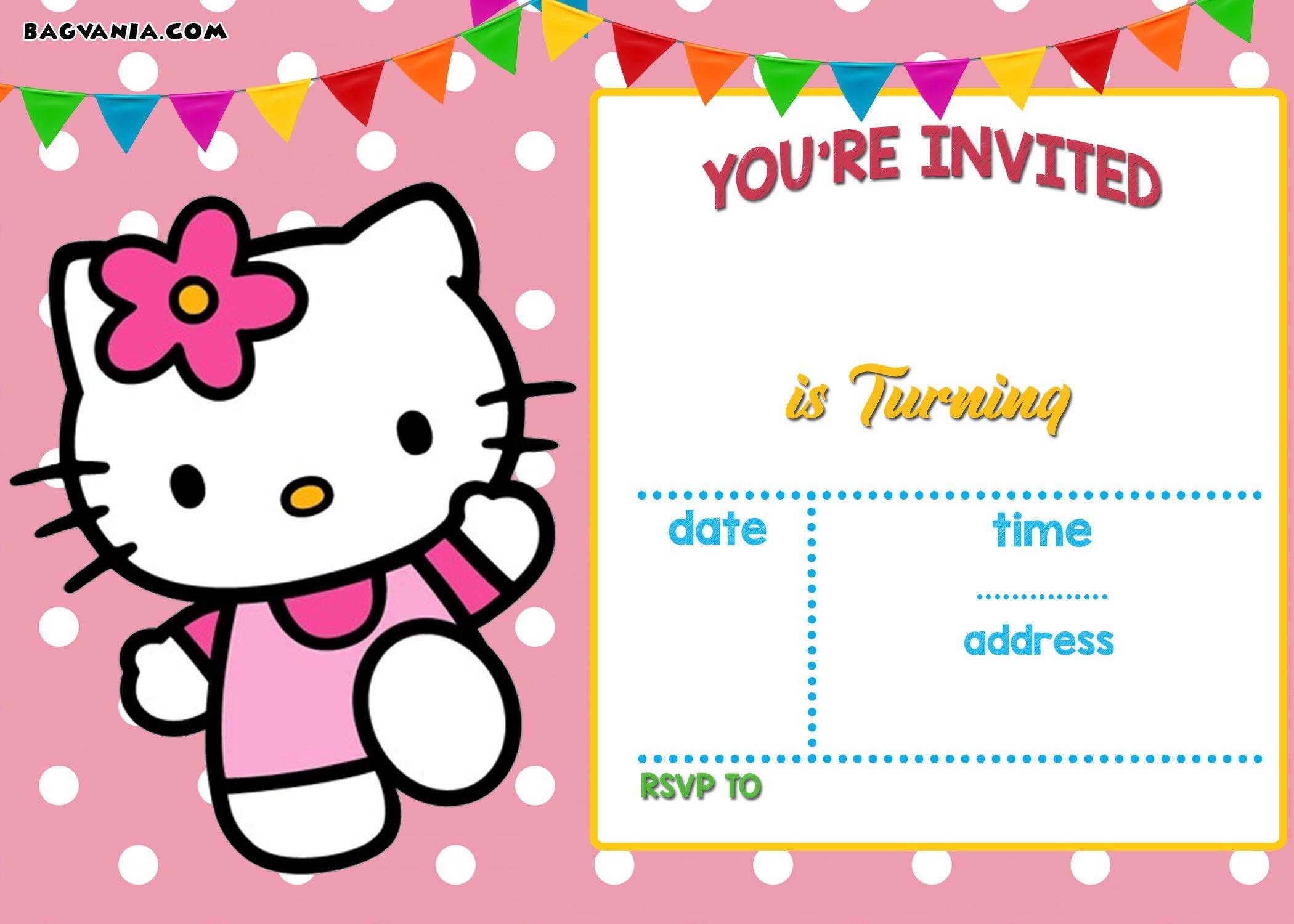 Free Hello Kitty Invitation Templates | Free Printable Birthday - Free Printable Kitten Birthday Invitations