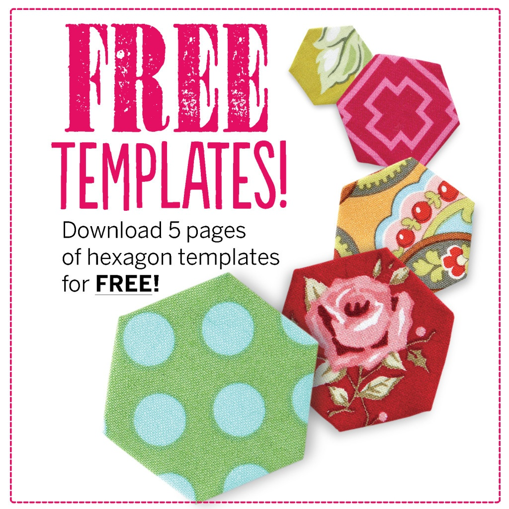 Free Hexagon Template Download + 13 Hexagon Quilt Pattern Ideas - Free Printable Quilting Stencils