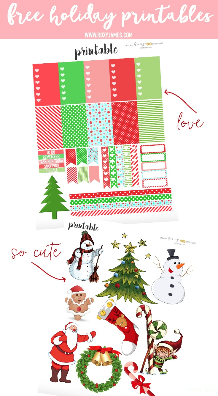 Free Holiday Planner Stickers Printable - Roxy James - Free Printable Holiday Stickers