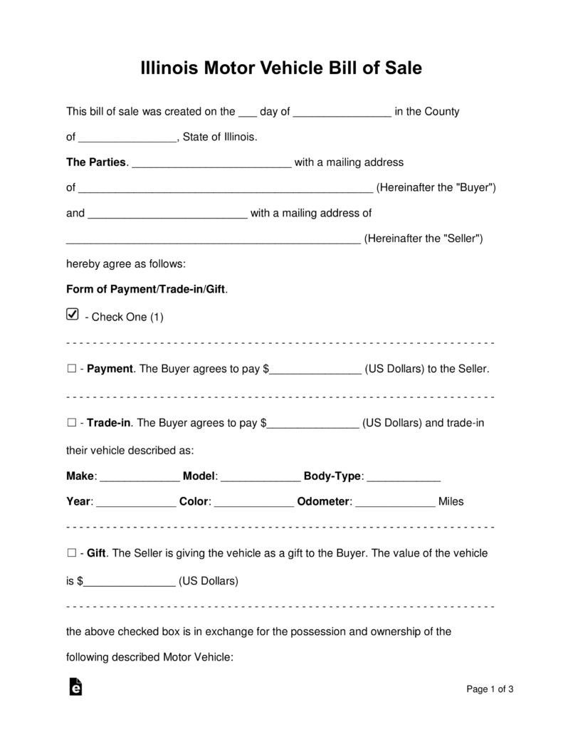 Free Illinois Bill Of Sale Forms - Word | Pdf | Eforms – Free - Free Printable Vehicle Bill Of Sale