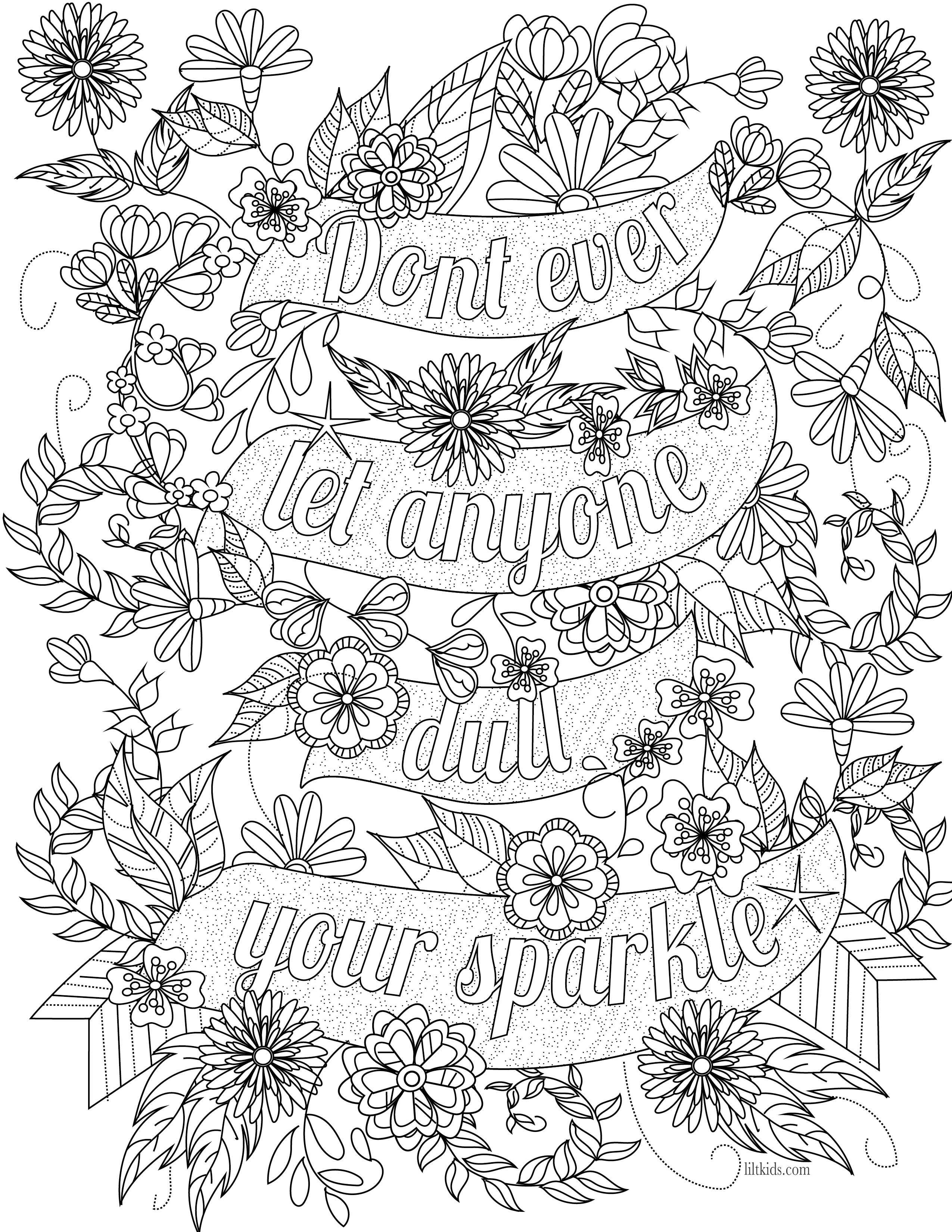 Free Inspirational Quote Adult Coloring Book Image From Liltkids - Free Printable Inspirational Coloring Pages