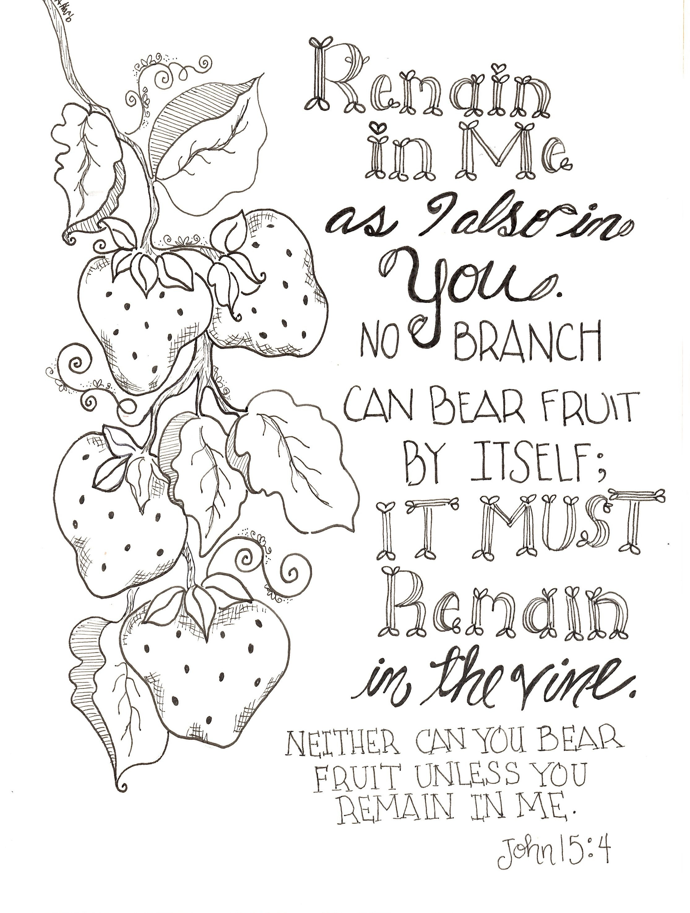 Free Inspirational Remain In Me Scripture Coloring Pages Printable - Free Printable Bible Coloring Pages With Scriptures
