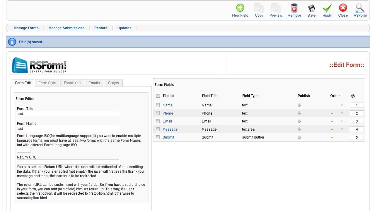 Free Joomla!® Form Builder - Rsform! - Free Printable Form Maker