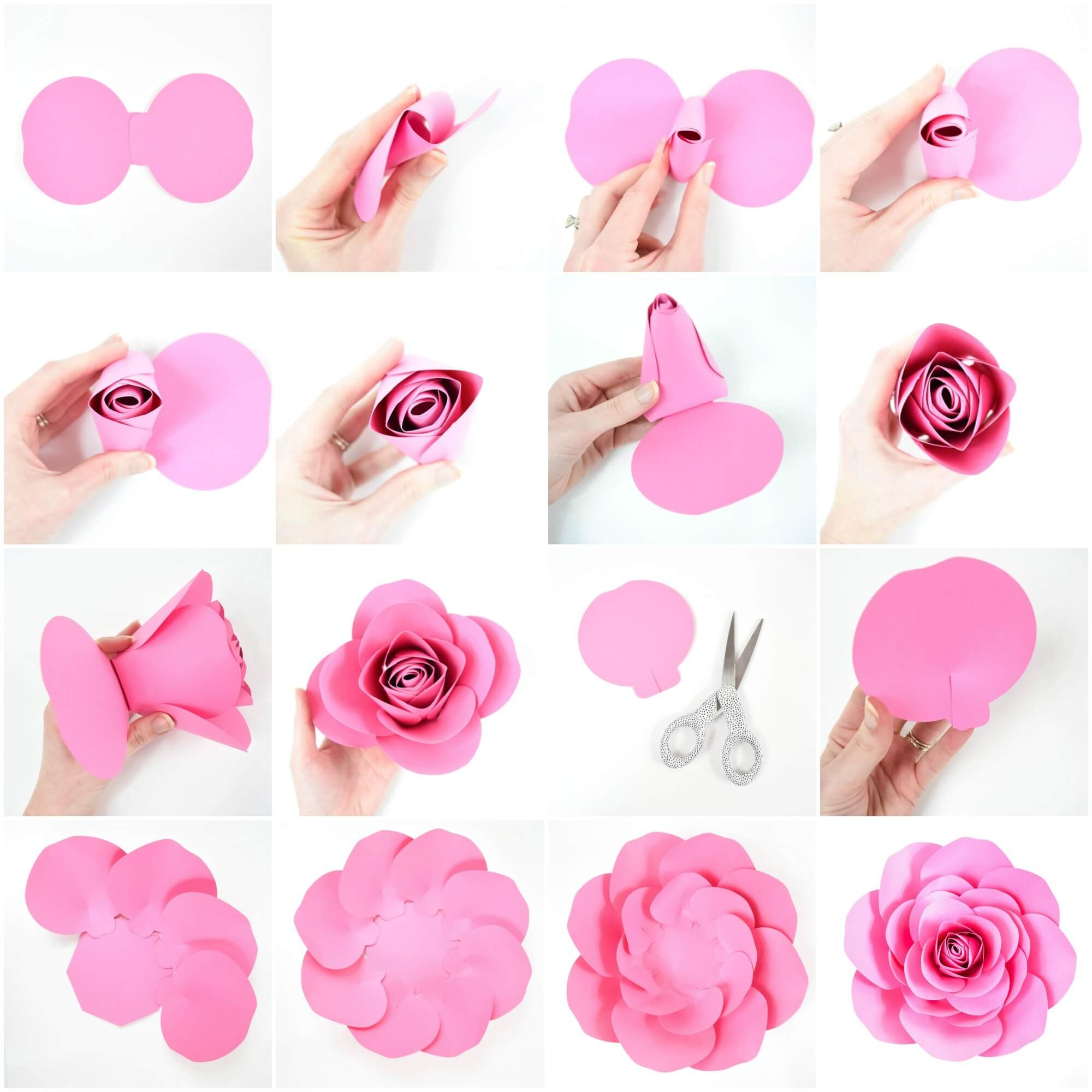 Free Large Paper Rose Template: Diy Camellia Rose Tutorial - Free Printable Paper Flower Templates