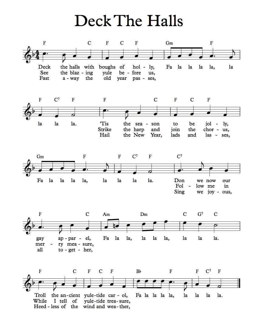 Free Lead Sheet – Deck The Halls | Free Sheet Music | Music, Violin - Free Sheet Music For Clarinet Printable