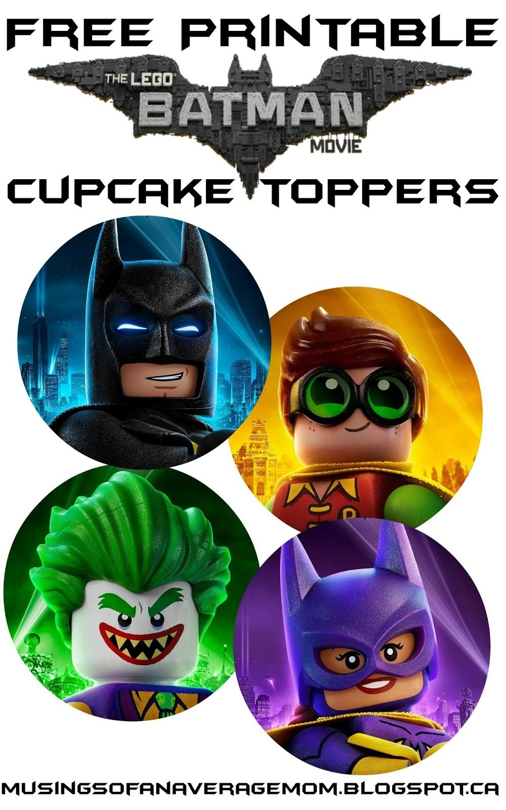 Free Lego Batman Cupcake Toppers | Daniel Bday Theme Ideas | Lego - Batman Cupcake Toppers Free Printable