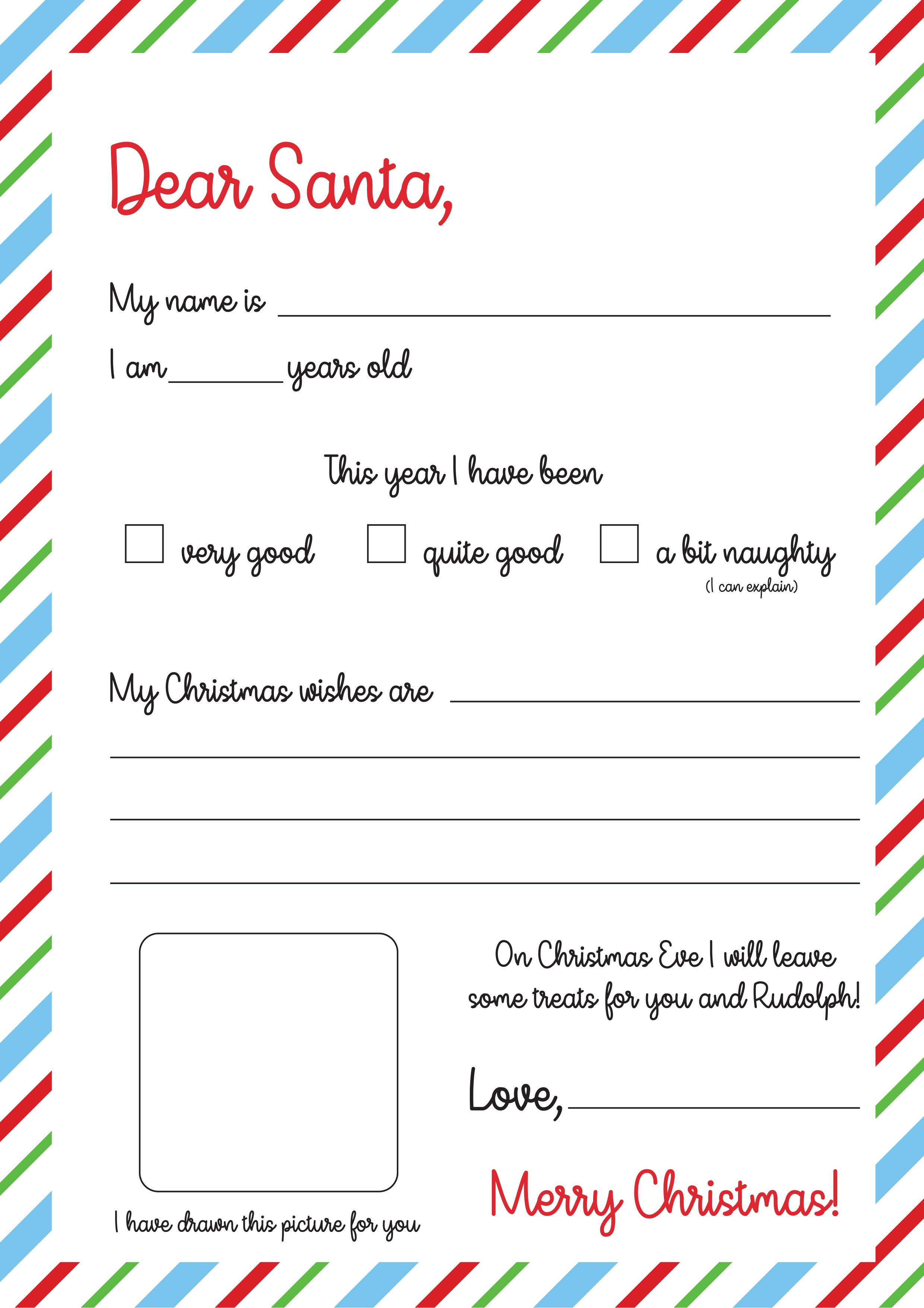 Free Letter To Santa Template Print | The Craft Blog - Letter To Santa Template Free Printable