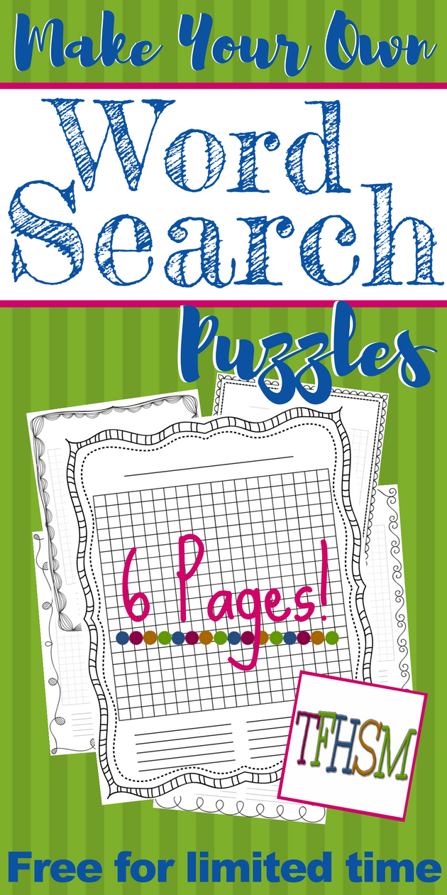 """Free """"make-Your-Own"""" Printable Wordsearch Puzzles – The Frugal - Make Your Own Puzzle Free Printable"""