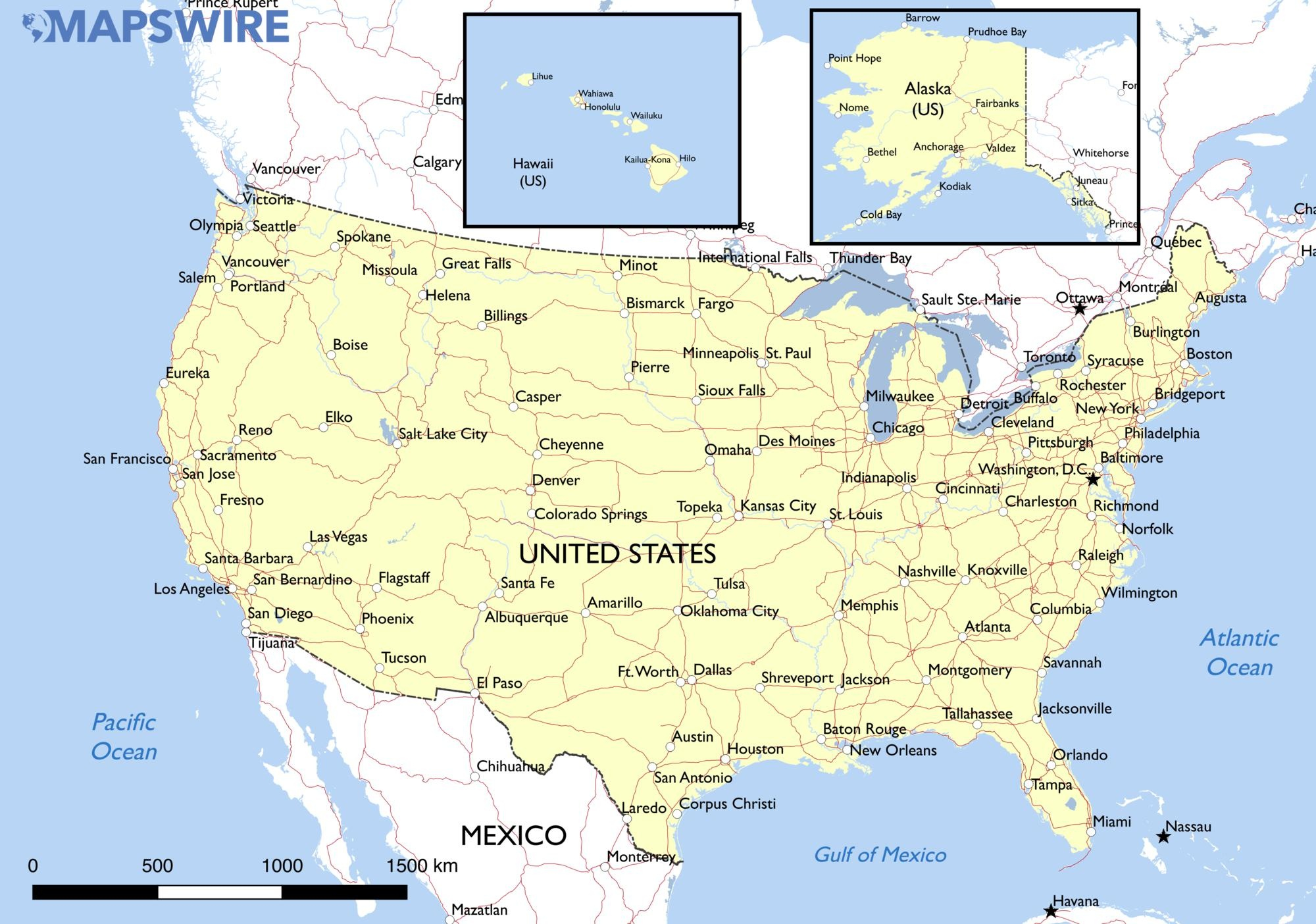 Free Maps Of The United States – Mapswire - Free Printable Map Of The United States