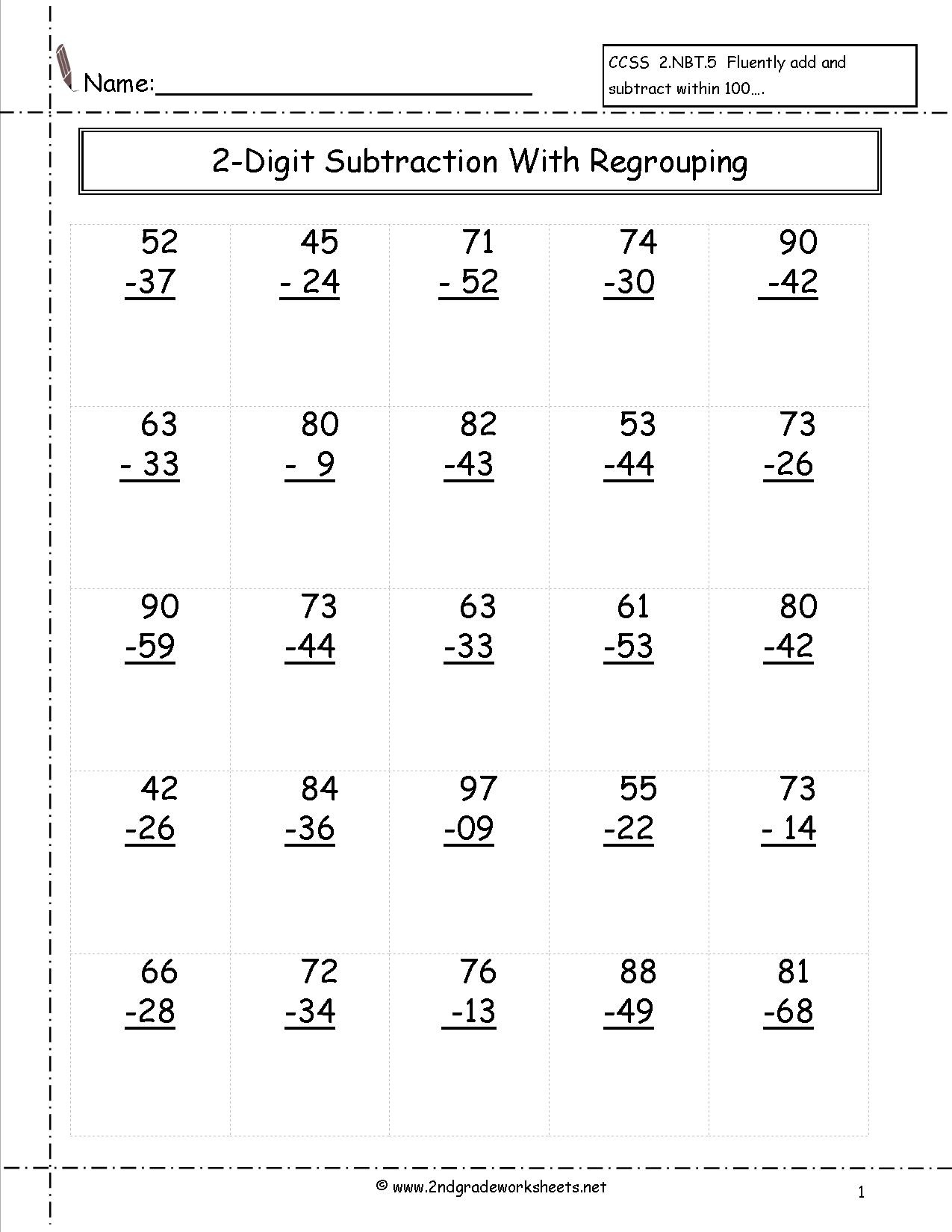 Free Math Worksheets And Printouts - Free Printable Double Digit Addition And Subtraction Worksheets