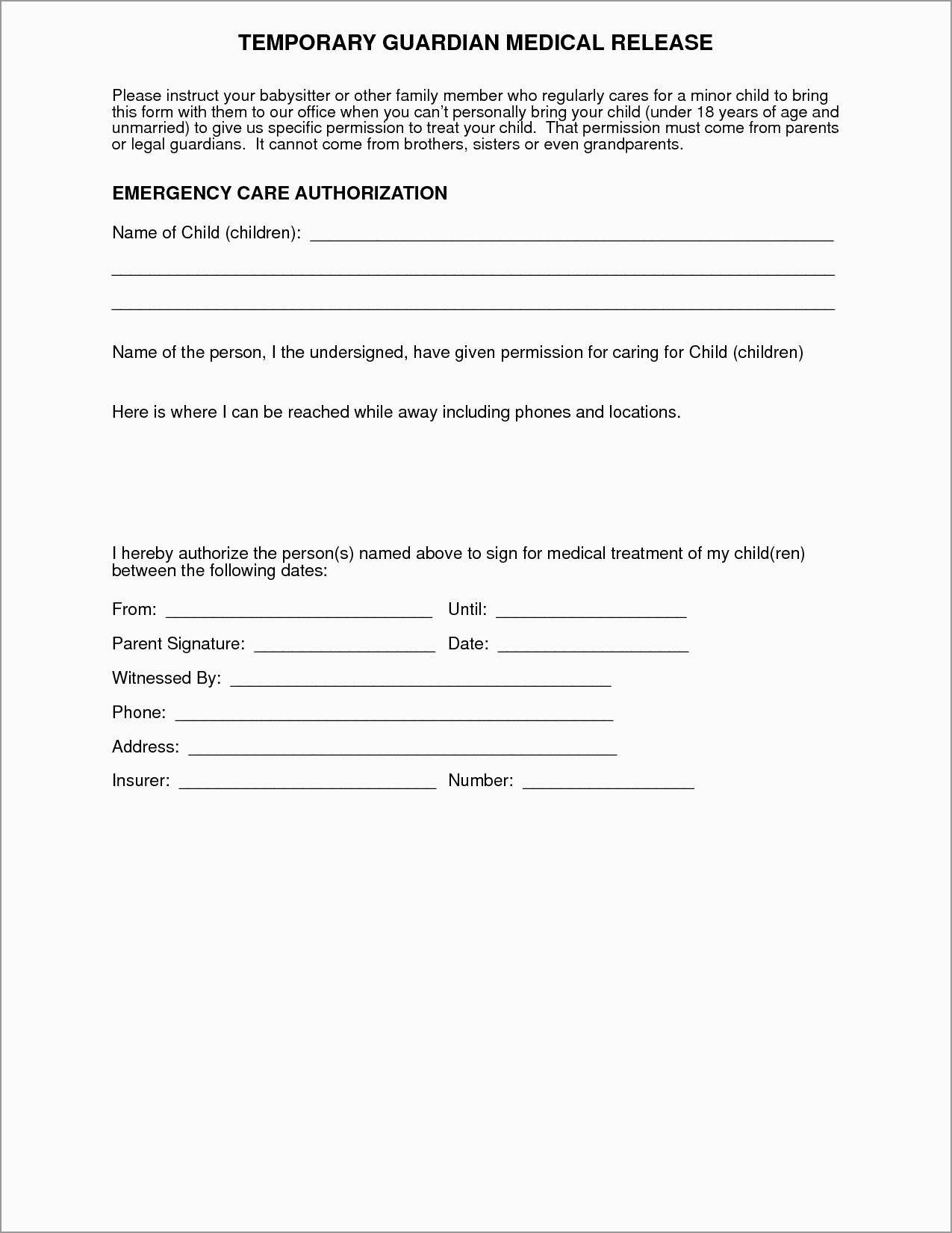 Free Medical Consent Form Template Elegant Medical Permission Form - Free Printable Medical Consent Form