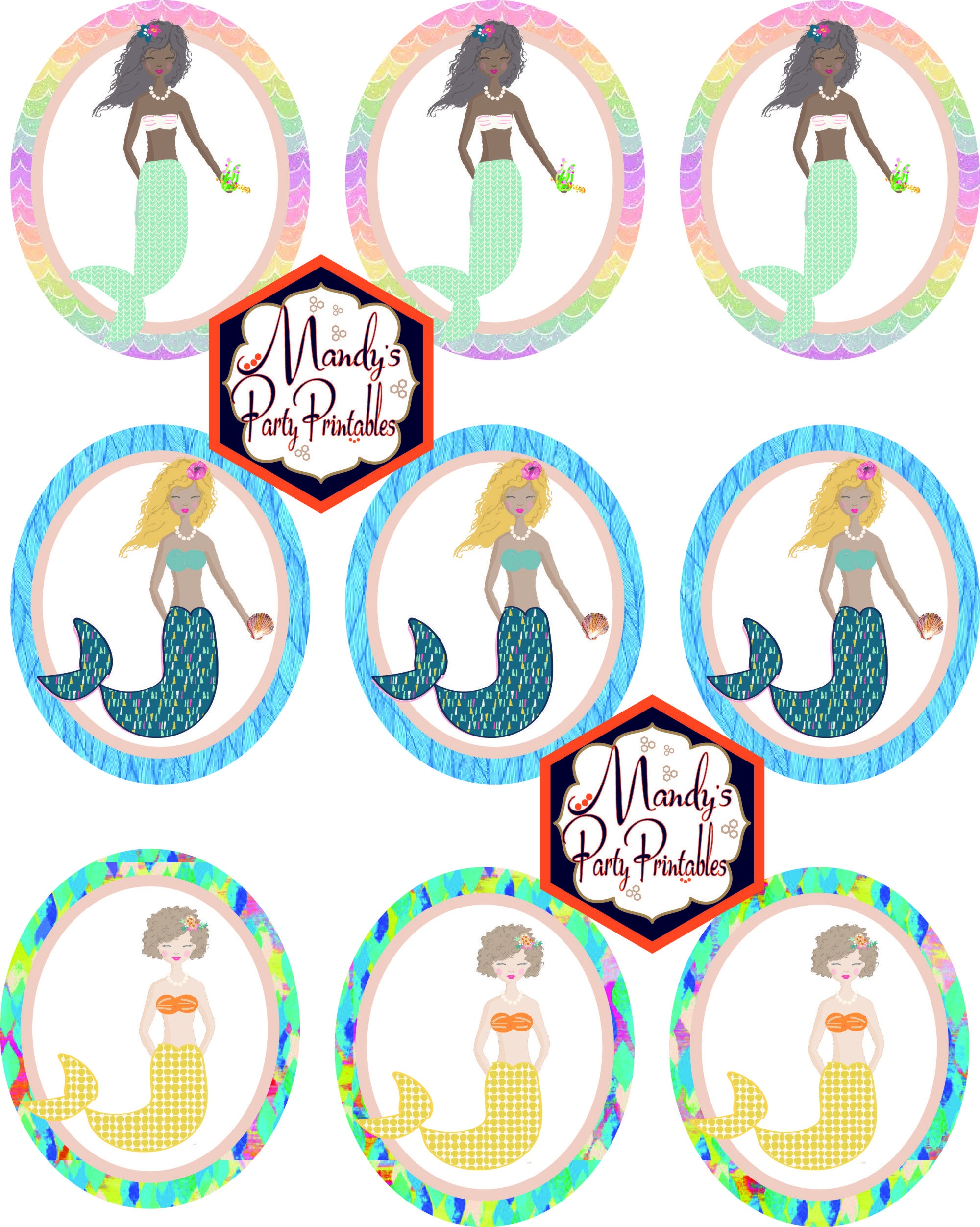 Free Mermaid Birthday Party Printables | Mermaid Parties | Mermaid - Free Printable Mermaid Cupcake Toppers