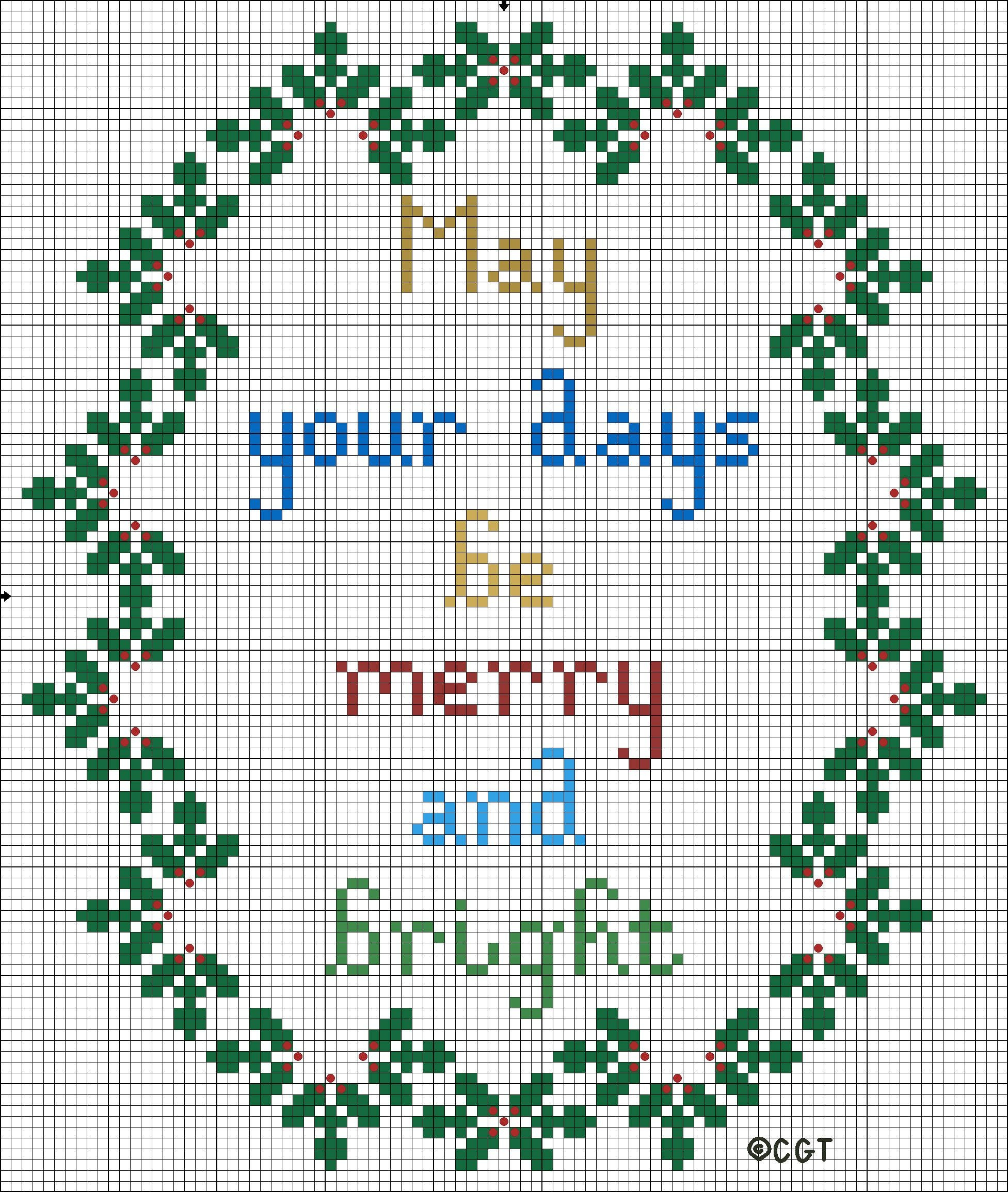 Free Merry And Bright Christmas Cross Stitch Pattern | Cross Stitch - Free Printable Cross Stitch Christmas Stocking Patterns
