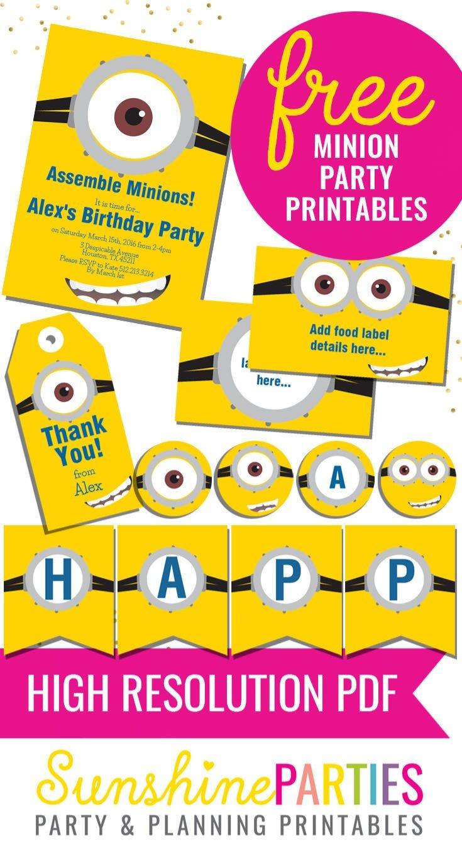 Free Minion Party Printables - Enjoy The Invitation, Birthday Banner - Free Printable Minion Food Labels
