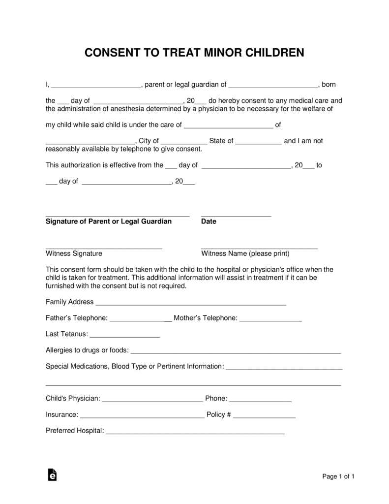 Free Minor (Child) Medical Consent Form - Word | Pdf | Eforms – Free - Free Printable Medical Release Form