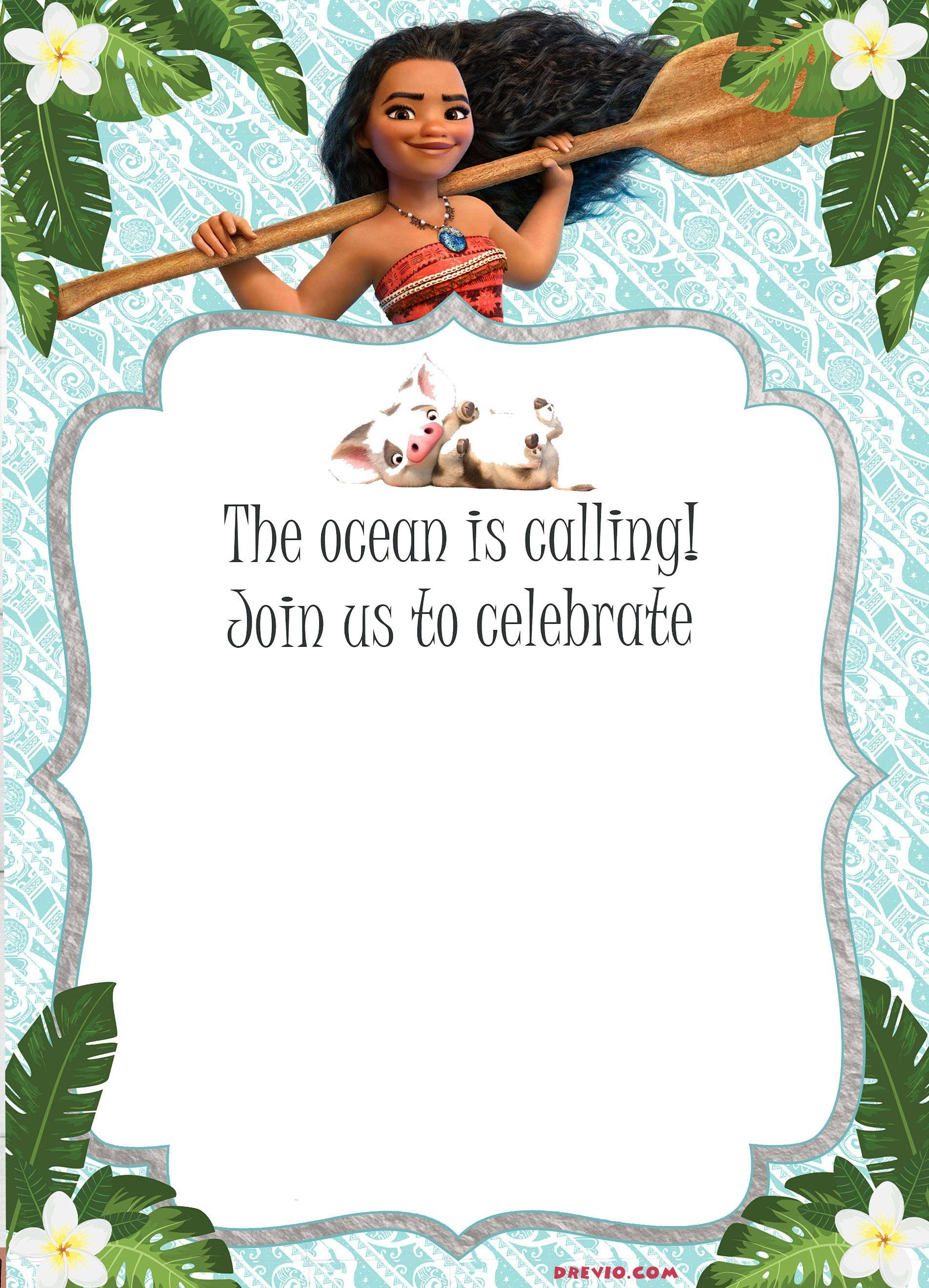Free Moana Birthday Invitation Template | Moana / Luau Themed - Free Printable Moana Birthday Cards