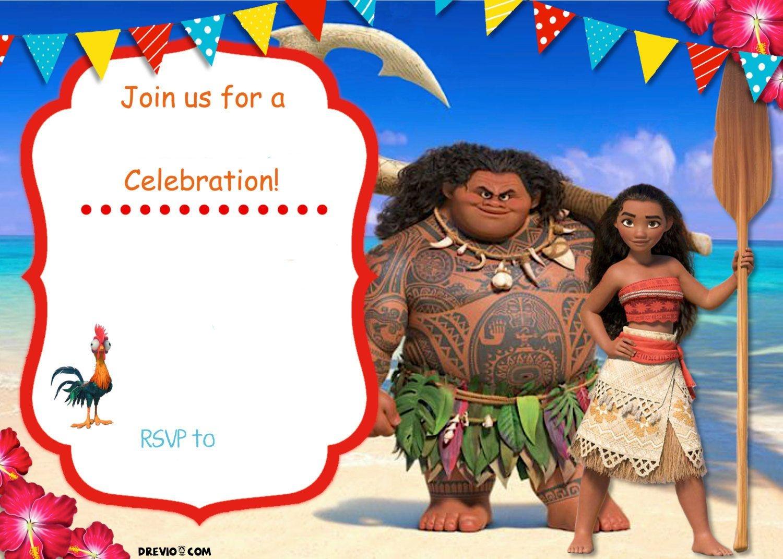 Free Moana Birthday Invitation Template | Zoey 4Th Birthday | Moana - Free Moana Printable Invitations