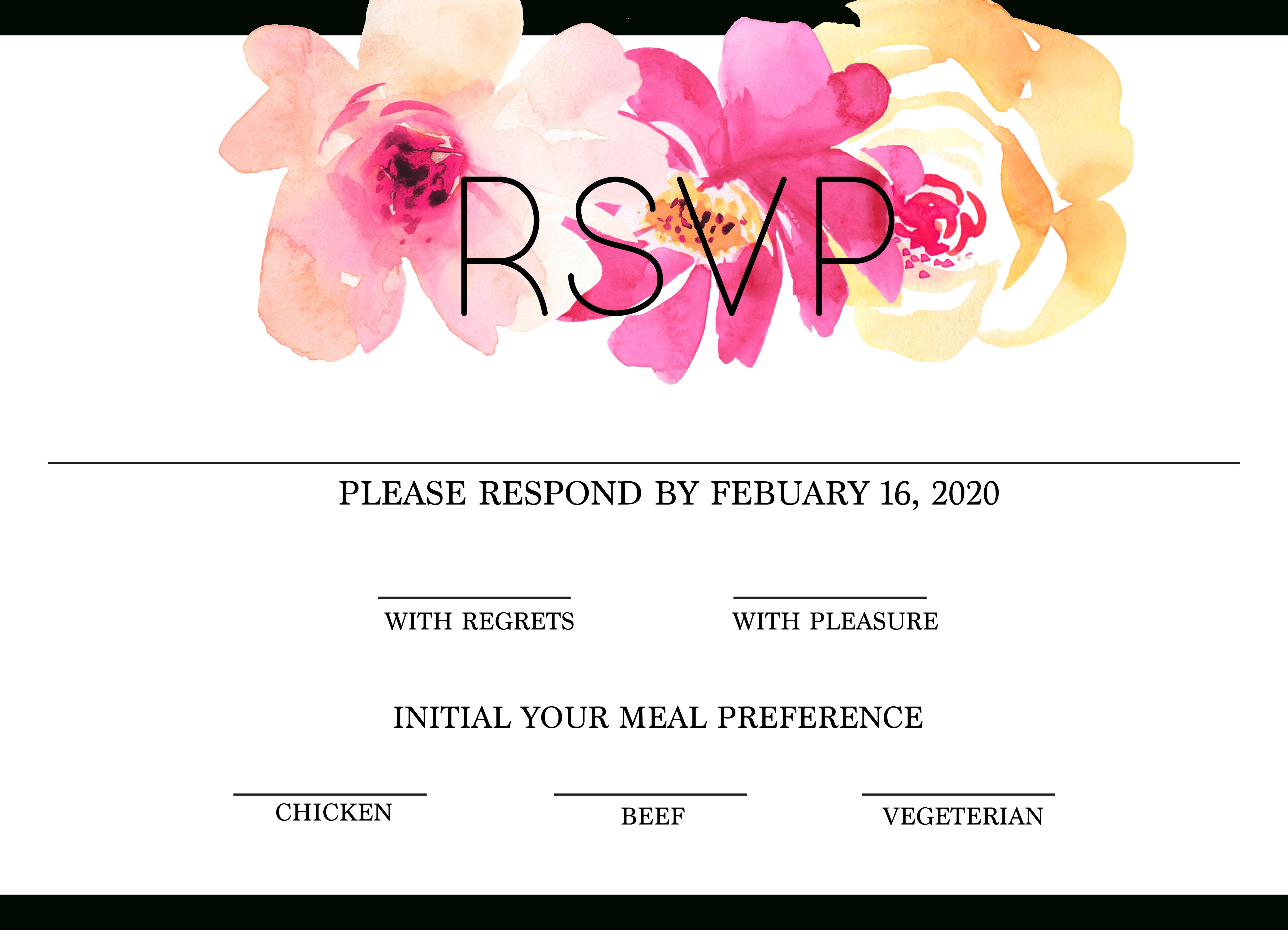 Free Modern Printable Watercolor Wedding Rsvp | Freebies & Free - Free Printable Rsvp Cards