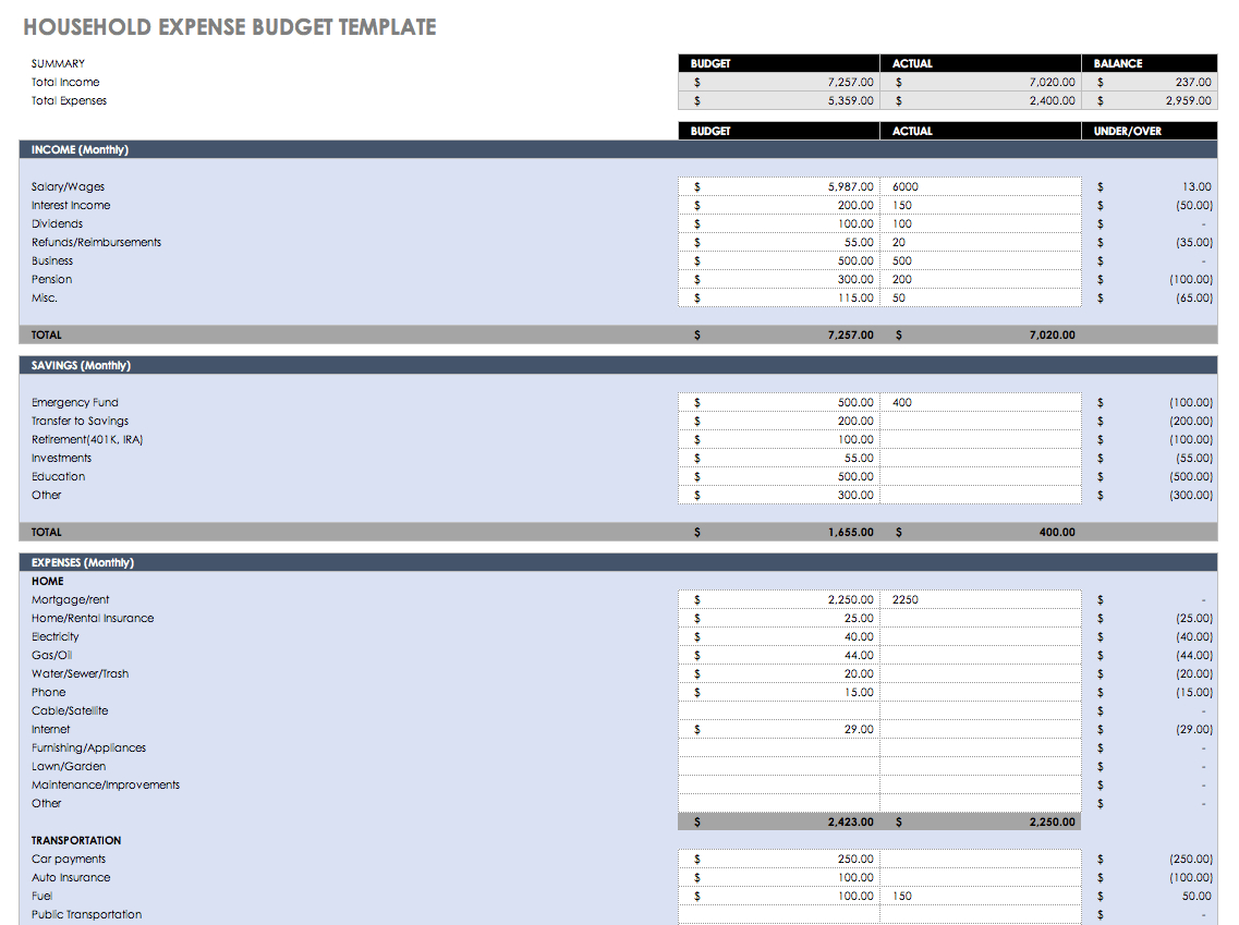 Free Monthly Budget Templates   Smartsheet - Free Printable Monthly Household Budget Sheet