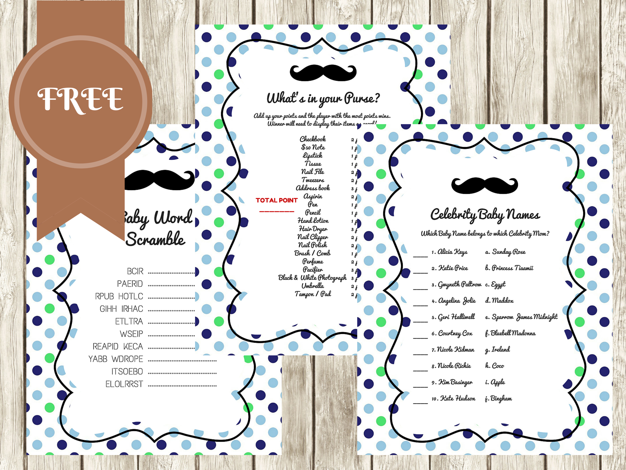 Free Mustache Baby Shower Games - Baby Shower Ideas - Themes - Games - What's In Your Phone Baby Shower Game Free Printable