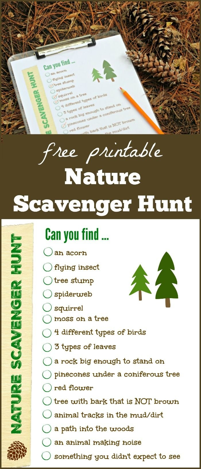 Free Nature Scavenger Hunt {With Printable!} | Outdoor Activities - Free Printable Scavenger Hunt