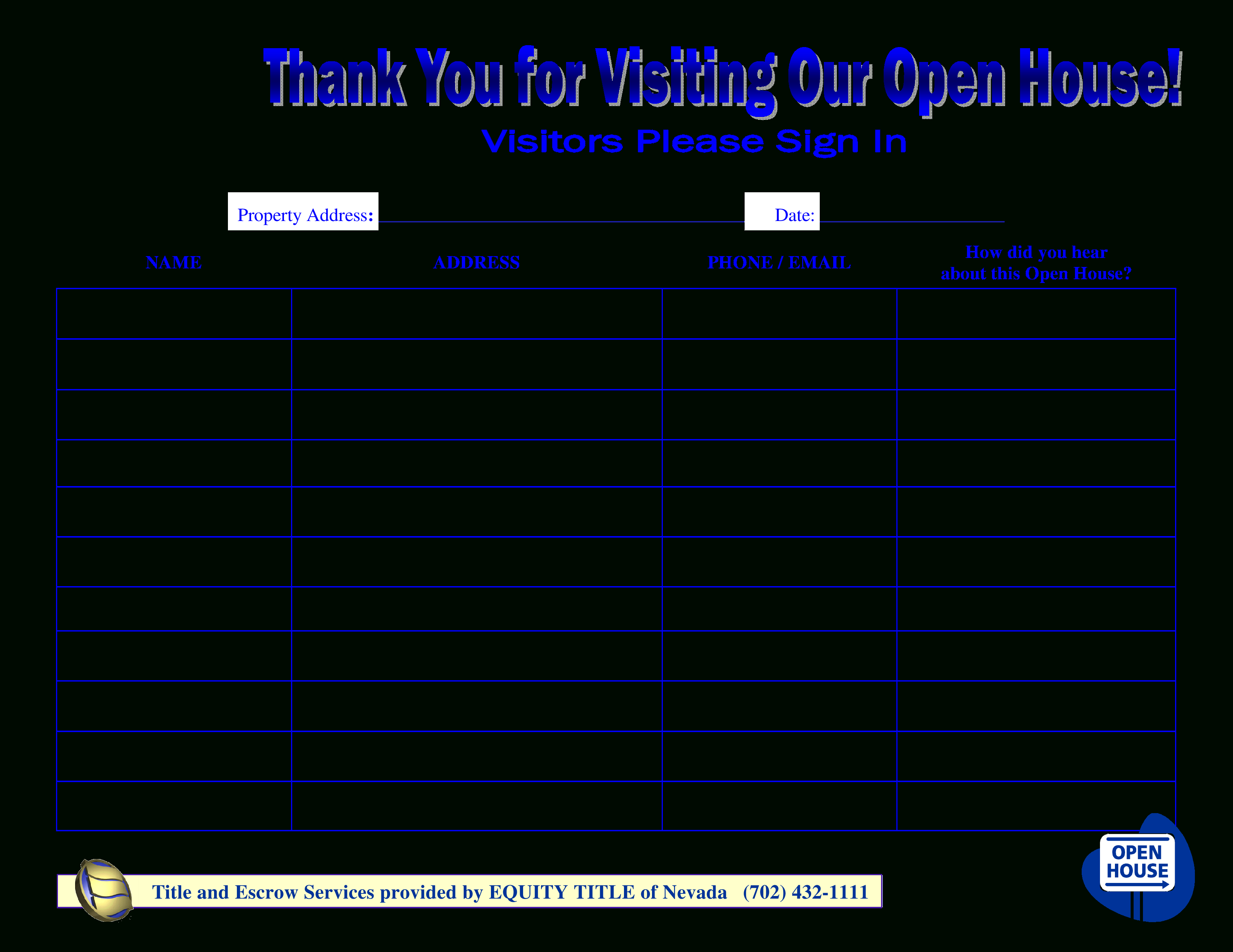Free Open House Sign In Sheet New Free Visitors Open House Sign In - Free Printable Sign In Sheet