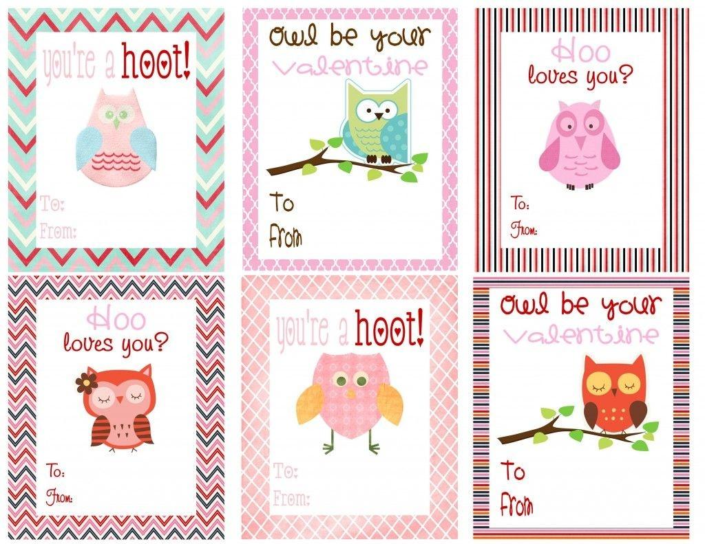 Free Owl Printables   Free Printable Valentine's Day Cards For Kids - Free Printable Owl Valentine Cards