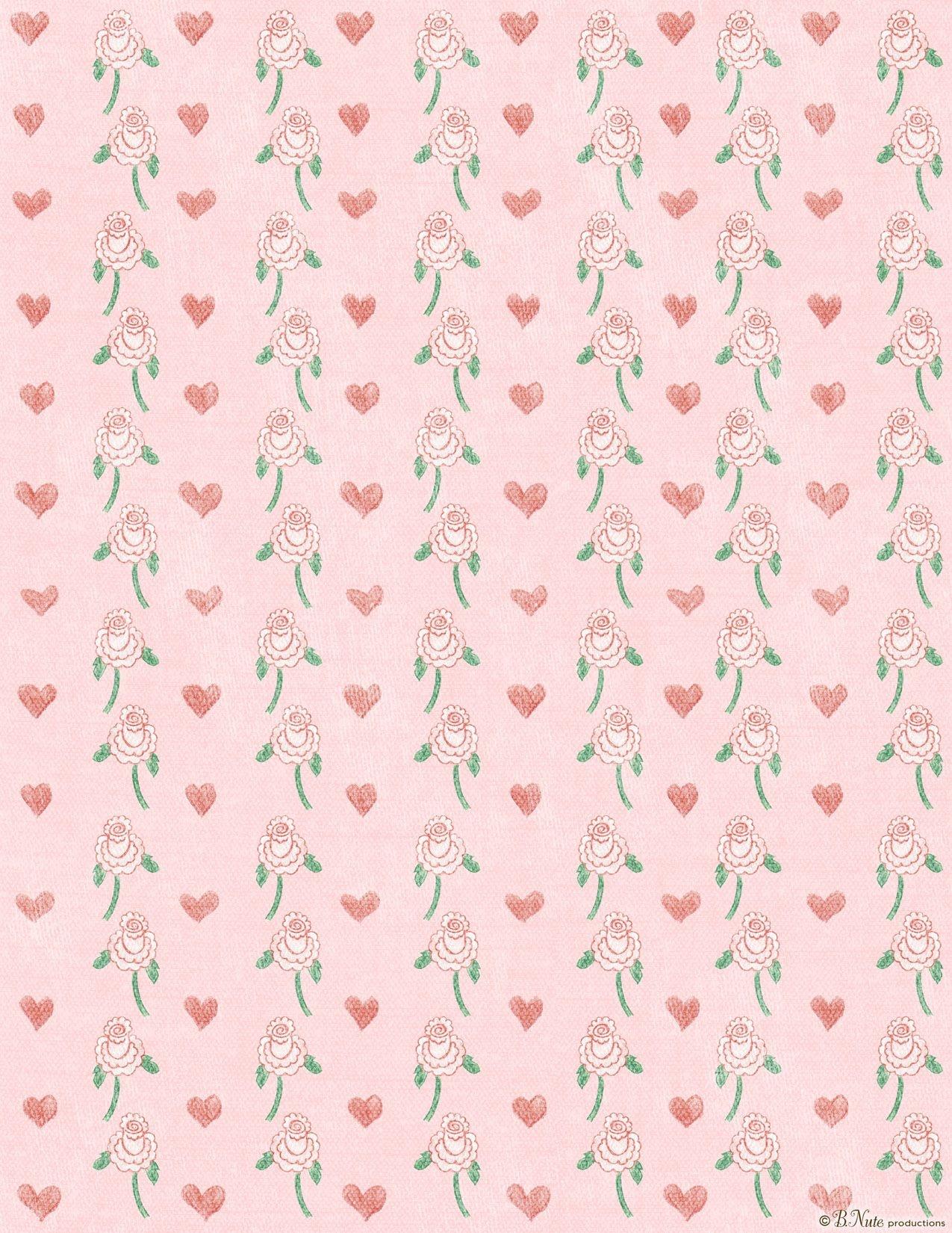 Free Paper Designs To Print   Free Printable Hearts 'n Flowers - Free Printable Scrapbook Paper Designs