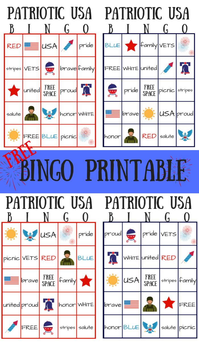 Free Patriotic Usa Bingo Printable - Summer Game | My Pinterventures - Free Printable Summer Games
