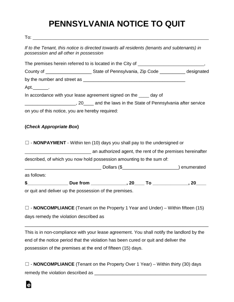 Free Pennsylvania Eviction Notice Forms | Process And Laws - Pdf - Free Printable Eviction Notice Pa
