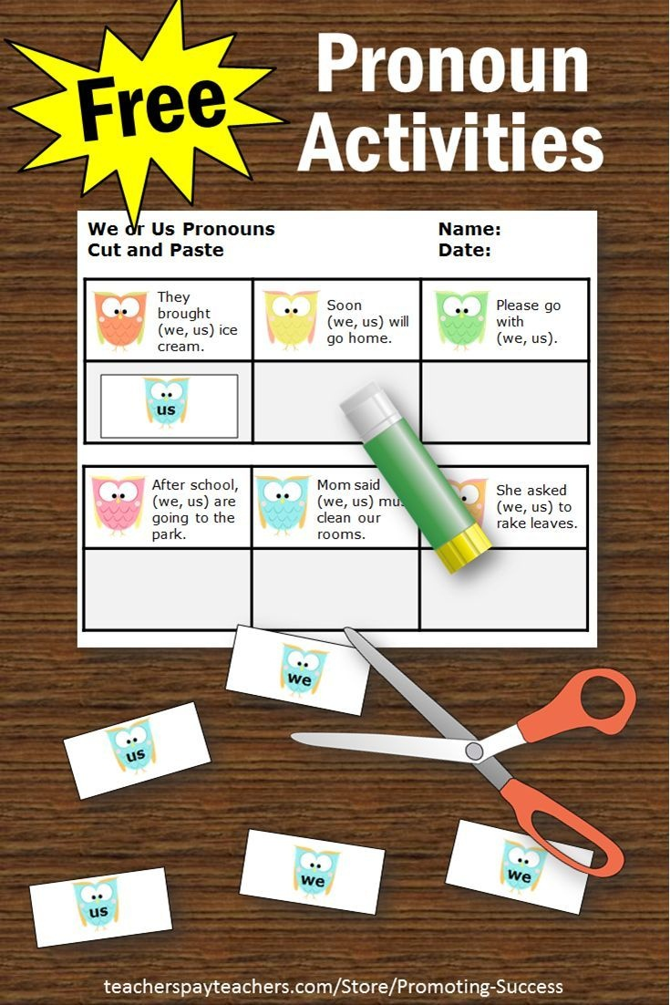 Free Personal Pronouns Task Cards { We Or Us }, Grammar Practice - Free Printable Kindergarten Task Cards