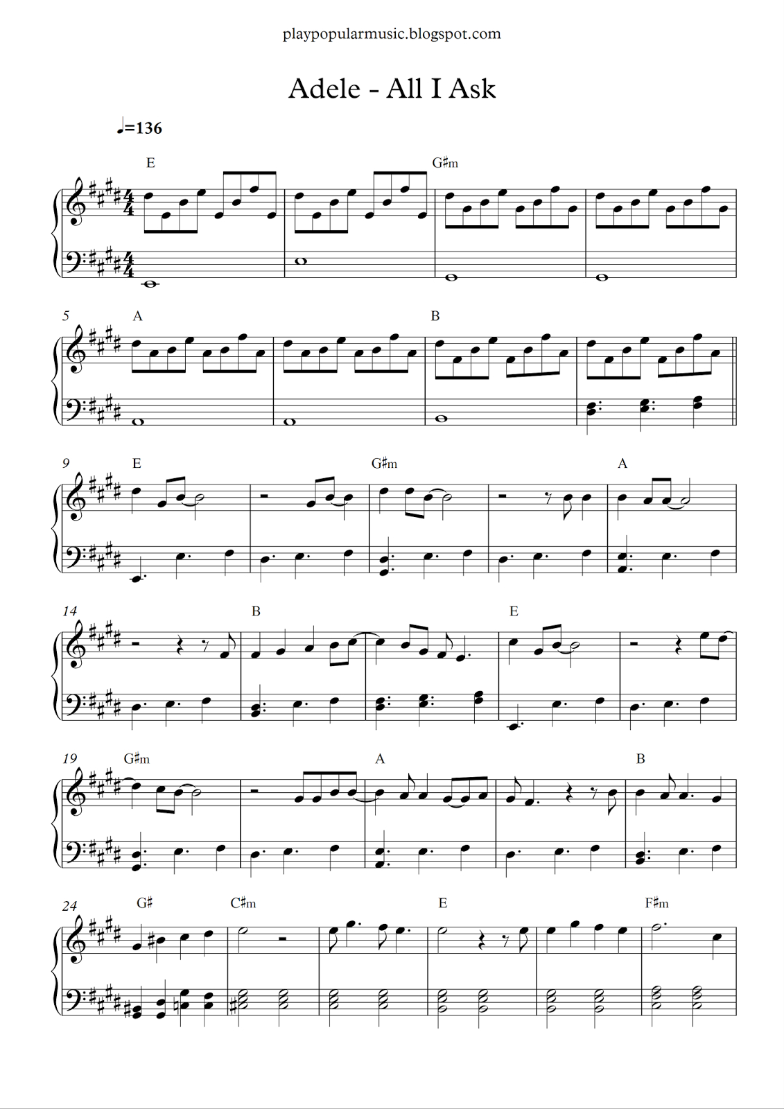 Free Piano Sheet Music: Adele - All I Ask.pdf I Don't Need Your - Free Printable Music Sheets Pdf