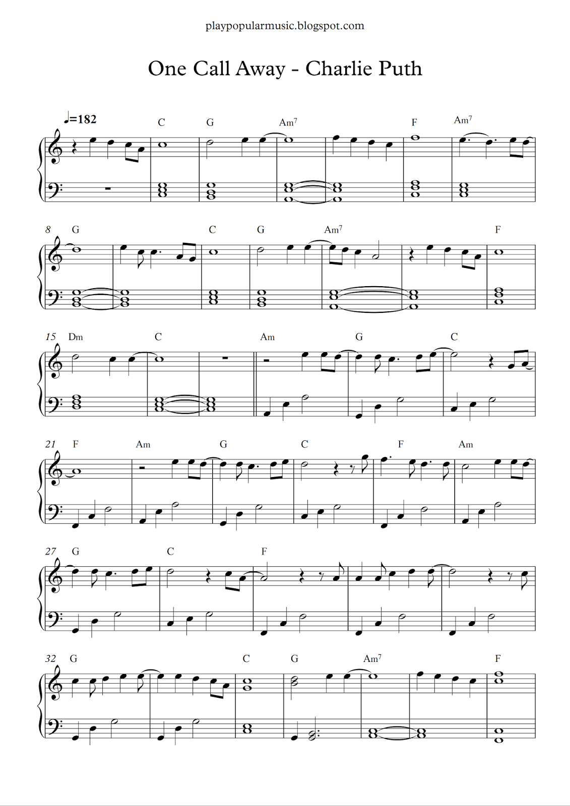 Free Piano Sheet Music: One Call Away - Charlie Puth.pdf I'm Only - Free Printable Music Sheets Pdf